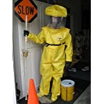 Tychem BR Hazmat Suit Chemical Protective Clothing W/ Attatched Gloves & Booties, Zipper Front Closure & Removable Hood. Includes Kevlar Glove Liners. MEDIUM
