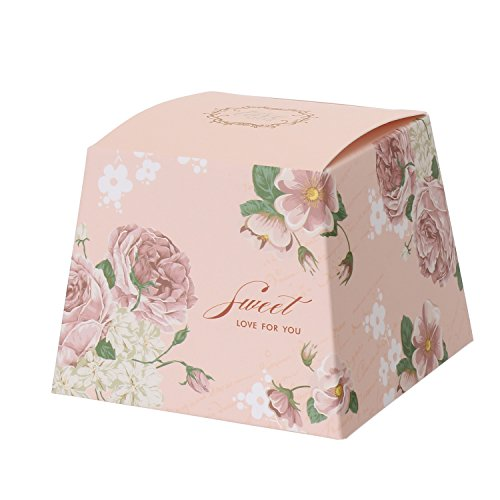 Floral Pattern Favor Boxes - Merssavo 10Pcs Wedding Party Candy Cake Sweet Gift Favor Boxes Floral Pattern With Ribbon (Pink)