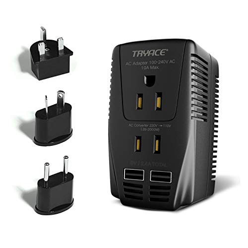 Price comparison product image TryAce 2000W Voltage Converter with 2 USB Ports,Set Down 220V to 110V Power Converter for Hair Dryer/Straightener /Curling Iron, Travel Transformer for UK/AU/US/EU Plug Adapter(Exclusive)