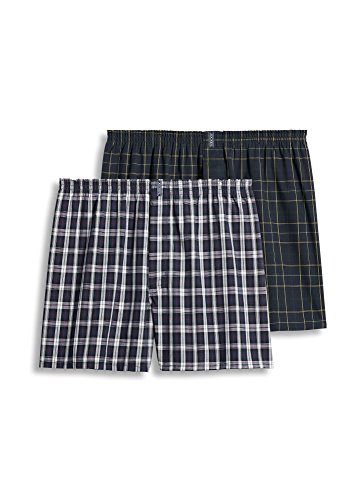 Jockey Men's Underwear Big Man Full Cut Boxer - 2 Pack, navy tartan/navy kennedy, 2XL (Boxer Mens Classic Plaid)
