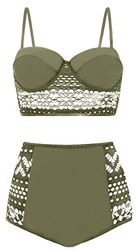Amourri Womens Vintage Polka Underwire High Waisted Swimsuit Bathing Suits Bikini (Z4- Lace Olive Green, XXXX-Large (fits Like US 14-16)) ()