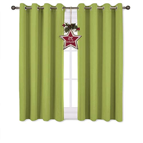 NICETOWN Green Blackout Curtains for Windows - Christmas Window Decoration Thermal Insulated Grommet Top Blackout Curtains/Panels/Drapes for Kid's Room (1 Pair, 52 x 45 inches in Fresh Green)