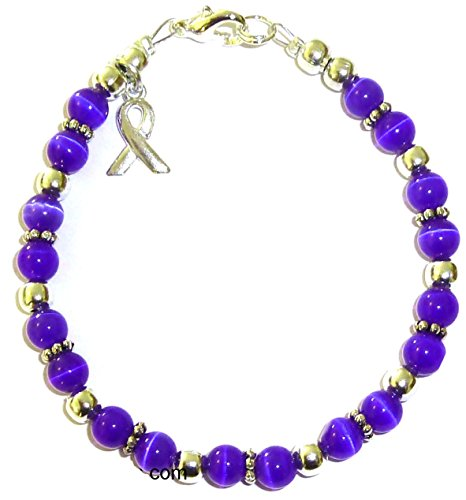 Cancer Awareness Bracelet, for Showing Support or Fundraising Campaign, Adult Size with Extension, 6mm Cat's Eye Beads. Comes Packaged. (Thyroid & Prostate - Royal Blue) ()