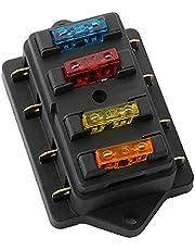 FULARR Premium 4 Vías Caja de Fusibles, Universal Circuito Estándar Cuchilla Portafusibles, con 10Pcs Gratis Estándar Cuchilla Fusibles, para Coche Barco Marino Trike –– 12V / 24V
