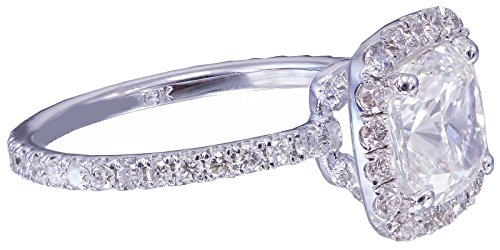 18k white gold cushion cut diamond engagement ring halo 2.10ctw H-VS2 EGL US
