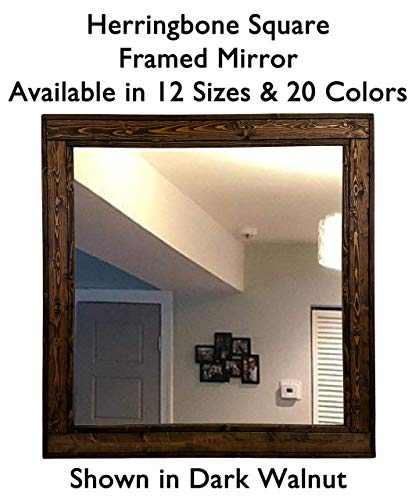 Square Frame Herringbone Reclaimed Wood Mirror, Available in 12 Sizes and 20 Stain or 20 Paint Colors: Shown in Dark Walnut - Square Wall Mirror Decorative