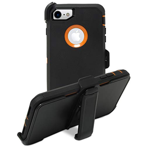 Speira Heavy Duty Belt-Clip Holster Kick-Stand Case [Built-in Screen Protector] Compatible with iPhone 8 / iPhone 7 (Black&Orange)