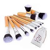 Start Makers 11 piece Bamboo Handles Makeup Brushes Foundation Blending Blush Concealer Eye Face Powder Cream Cosmetics Brushes Kit