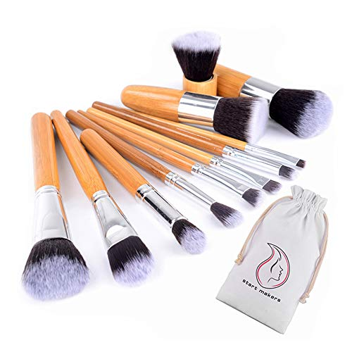 Start Makers 11 piece Bamboo Handles Makeup Brushes Foundation Blending Blush Concealer Eye Face Powder Cream Cosmetics Brushes Kit by START MAKERS
