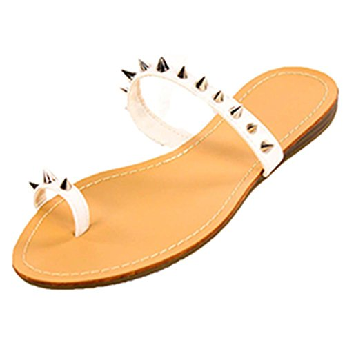 Top Modern Goth Punk Low Spike Studded Flip Flop Sandal Running Man for Women Big Girls (White Size 6) ()