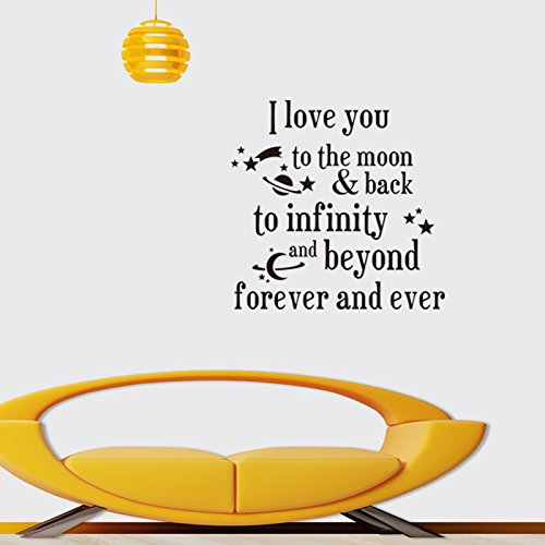 Fange DIY Removable I Love You to the Moon Back to Infinity Love Quotes Art Mural Vinyl Waterproof Wall Stickers Bed Kids Room Decor Livingroom Nursery Decal Sticker Wallpaper 20.9''x20.7'' by Fange (Image #4)