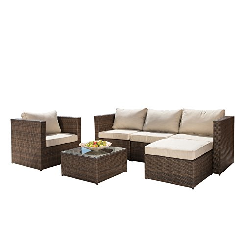 6pc Outdoor Patio Sofa Set Sectional Furniture Pe Wicker Rattan Deck Couch … price