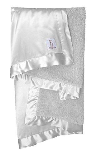 Little Giraffe Chenille Satin Baby Blanket, Silver -
