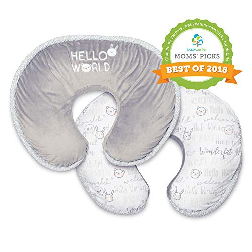 Boppy Luxe Nursing Pillow and Positioner, Hello World, Ultra-soft minky fabric on one side with adorable appliqué and coordinating piping (Best Cover In The World)