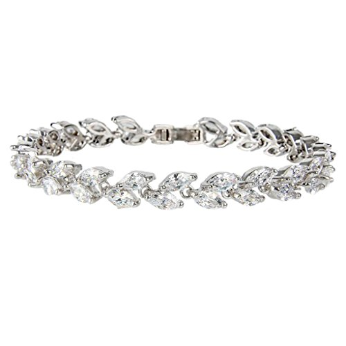 EVER FAITH Silver-Tone Zircon Wedding 2 Layers Small Leaf Roman Tennis Bracelet Clear -
