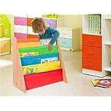 Kids Childrens Bookcase Rack Children Colourful Sling Storage Bookshelf Nylon Fabricated to Protect Childrens High Quality Childrens Bookshelf Bookcase Storage (Multi Colour)
