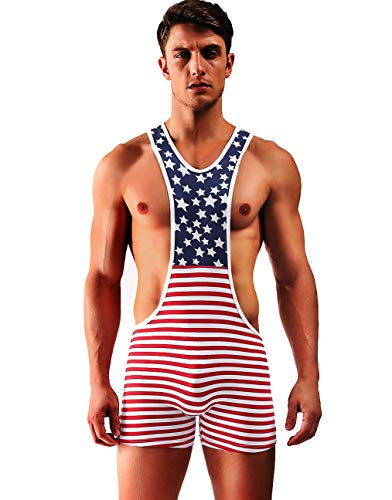 Arjen Kroos Men's Sexy Wrestling Singlet Running Gym Leotard Bodysuit (American Flag, X-Large/35.4-37.8 inch) ()