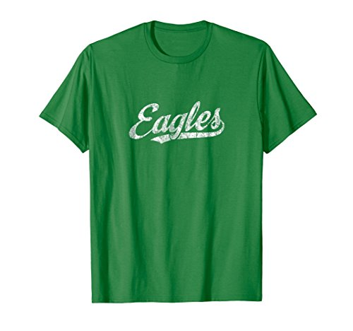 Mens Eagles Mascot T Shirt Vintage Sports Name Tee Design Large Kelly Green