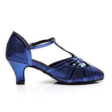 Woherren Latin funkelnden Glitter Sandale Praxis Innen- Anfänger professionelle Innen- Praxis Leistung Schnalle Ferse Schwarz Blau 2  - 2 3 4  2 1 2  (6 3 cm) Flare Ferse Blau UNS 6 5-7 EU 37  UK 4 5-5 CN 37 66e1dc