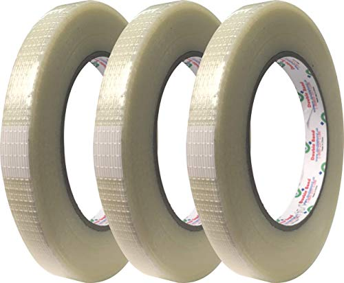 """3 Roll 1/2"""" x 54.6 yds (12mm x 50m) Bi-Directional Fiberglass Reinforced Filament Tape, Strapping Tape, for Heavy Duty Packing, Steel Bundling, Wrapping, Palletizing"""