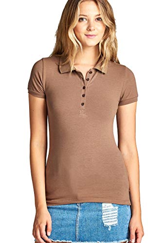 (Hollywood Star Fashion Women's Classic Short Sleeve Jersey Polo Shirt (Large, Mocha))