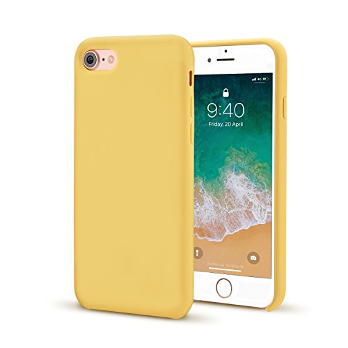 for iPhone 7/8 Case, Ultra Thin Liquid Silicone Gel Rubber Shockproof Case and Slim Soft Touch Microfiber Cloth Lining Cushion for iPhone 7/8 (Yellow)