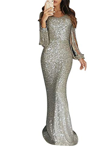 Elapsy Womens Sexy Elegant Sparkling Sequins Sheath Tassel Round Neck Night Club Cocktail Dress Long Evening Formal Wedding Gown Nude X-Large ()
