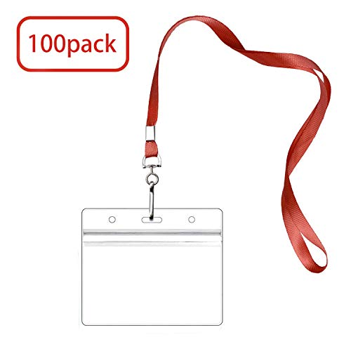 100 Pack Badge Holders with Lanyards, Waterproof Horizontal Name Tag ID Card Holders, Clear Plastic Horizontal Name Tags Badge ID Card Holders (red, 100Pack)]()