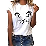 Plus Size Graphic Tees for Women Cat Print T Shirts Casual Cute Funny Short Sleeve Blouse Tops White