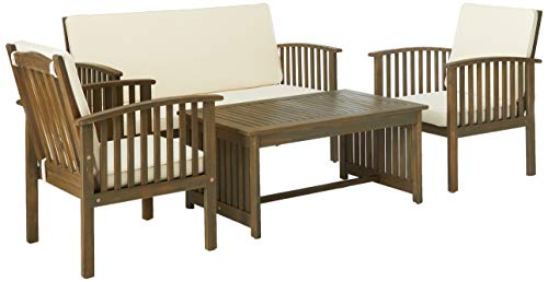 Christopher Knight Home 298932 Beckley Patio Furniture 4 Piece Acacia Wood Outdoor Chat Set, Grey