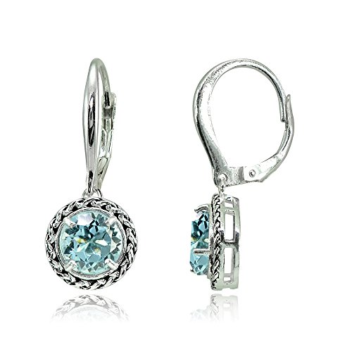 (Sterling Silver Blue Topaz Round Oxidized Rope Dangle Leverback Earrings)