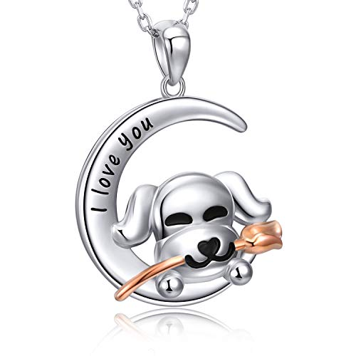 - MANBU 925 Sterling Silver Cute Dog Biting Rose On Moon Pendant Necklace Animal Gifts Women Girls …