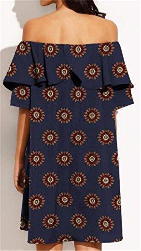 Printed Dress Ruffle Shoulder Off Cruiize High Low Women's Navy Sexy Blue Summer zSxEaqR