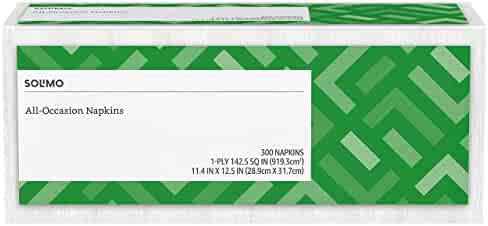Amazon Brand - Solimo 1-ply Everyday Paper Napkins, White, 300 Napkins