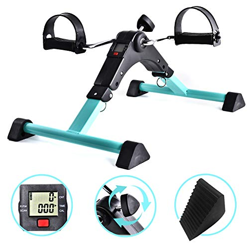 B BAIJIAWEI Portable Pedal Exerciser - Under Desk Exercise Machine - Arm & Leg Exercise Peddler - Folding Low Impact Exercise Bike for Seniors and Elderly