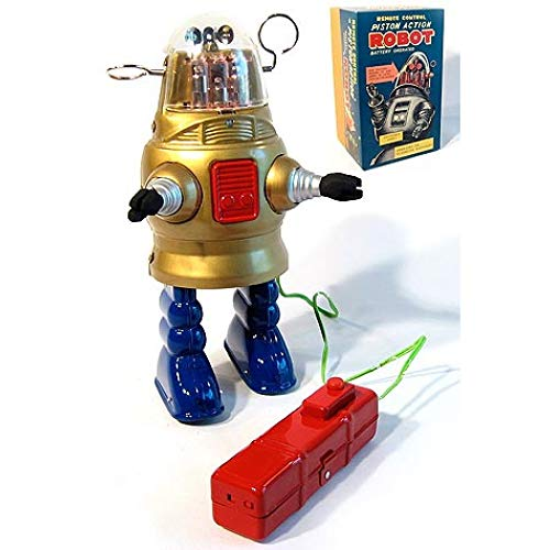 TinToyArcade Robby Piston Action Robot Gold Battery Powered ()