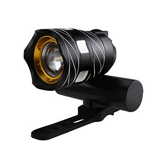 Ikevan USB Rechargeable XML T6 LED Bicycle Bike Light Front Cycling Light Head Lamp (Black)