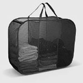 LAUNDRY SORTER HAMPER TOY STORAGE 3 COMPARTMENT BLACK IHC 290231000