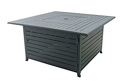 """Legacy Heating v-CDFP-S-CA Square Aluminum Propane Fire Table, 44.88"""" x 44.88"""" x 24"""", Hammered Black"""
