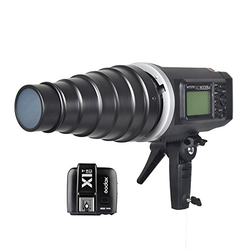 Godox AD600BM Bowens Mount 600Ws GN87 High Speed Sync Outdoor Flash Strobe Light Monolight with X1C Wireless Trigger &Conical Snoot (include Honeycomb Grid and Color Gels) for Canon Camera