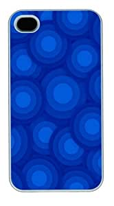 Blue Circles Polycarbonate Hard Case Cover for iPhone 4/4S White