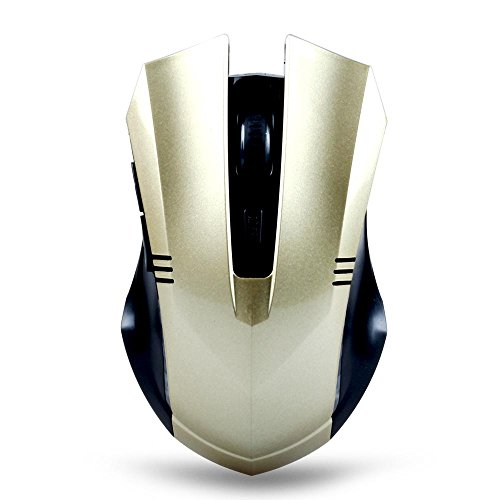 Tonor® 2.4GHz 1000/1600 DPI Switch 6D Wireless Optical Mouse Cordless Gaming Mouse for Laptop Computer Macbook Gold-12 months warranty.