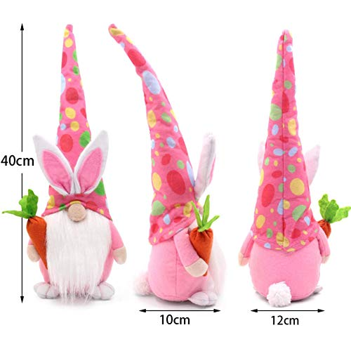 Easter Gnome-Bunny Gnomes Spring Gifts Room Decor Nordic Swedish Nisse Scandinavian Tomte Elf Dwarf for Girlfriend Wife Mother Daughter Lover Gifts(Yellow+Pink+Green)