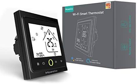 MoesGo Smartes WLAN fähiges Thermostat und Temperaturregler für gasbetriebene Wasserboiler, kompatibel mit Smart Life/Tuya App und Alexa und Google Home (Schwarz)