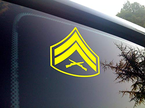 ViaVinyl USMC Marine Corps. Enlisted Rank Insignia. All Ranks Available with Multiple Color Options! Made in The USA by a Marine Corps Veteran! Ooh rah! (Yellow, E-4 Cpl)