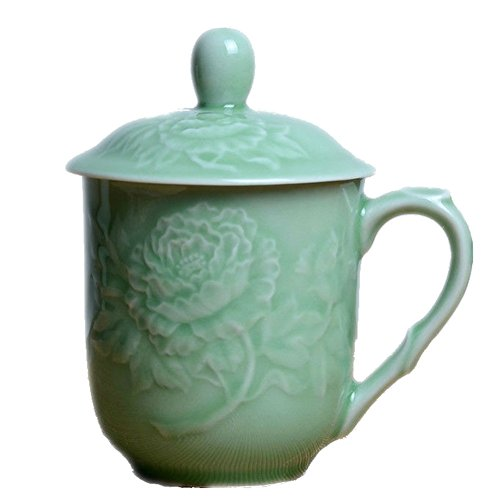 Teacups 13oz Coffee Mugs with Lid Porcelain Cups Embossed with Peony Chinese Celadony(02-Green)