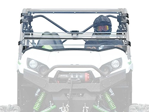 (SuperATV Heavy Duty Scratch Resistant Flip Windshield for Kawasaki Teryx 800/800 4 (2016+) - Can be Set to Open, Vented, or Closed - Easy to)