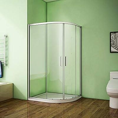 Quadrant - Mampara de ducha de cristal deslizante con bandeja de ...