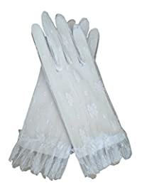 Fancy Sheer Lace Wedding Party Vintage Dress Gloves Wrist Length (White)