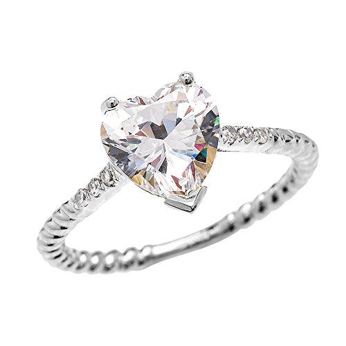 Bague Femme/ Bague De Fiançailles 14 Ct Or Blanc Diamant Et 3 Ct Cœur Oxyde De Zirconium Solitaire Conception De Corde